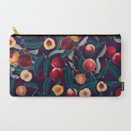 Nectarine and Leaf pattern Carry-All Pouch