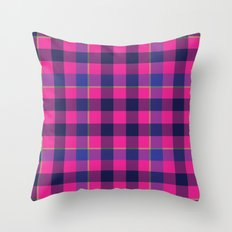 Pink and Navy Plaid Throw Pillow