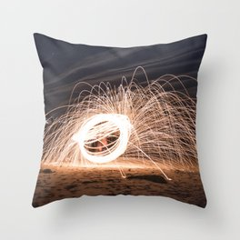 Woolspinning at the Beach Throw Pillow
