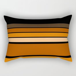 Black and yellow , brown and orange striped pattern . Rectangular Pillow
