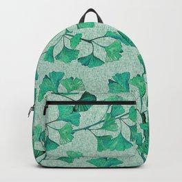 Asian-Inspired Minimalist Art: Gentle Seafoam Leaves Backpack