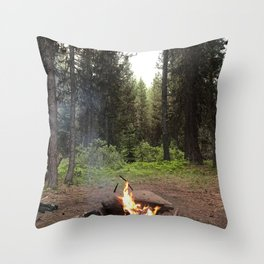 Backpacking Camp Fire Throw Pillow