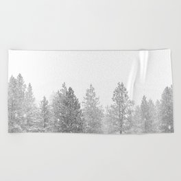 Snow Day // Black and White Winter Landscape Photography Snowing Whiteout Blizzard Beach Towel