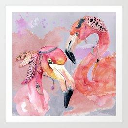 Pink Flamingos – Boho-Style Art Print