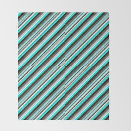 Blue Brown Black Inclined Stripes Throw Blanket