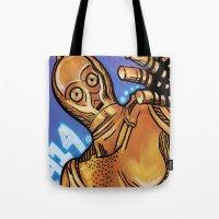 c3po Tote Bags featuring C3PO 414 by Amanda Iglinski