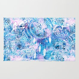 Mermaid blue turquoise watercolor boho dreamcatcher floral pattern Rug