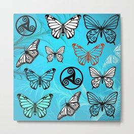 Butterfly Dreams in Aqua Metal Print