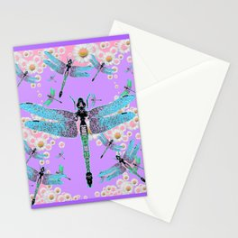 DELICATE BLUE DRAGONFLIES LILAC DAISY FLOWERS ART Stationery Cards