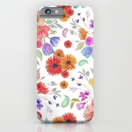 Loose Wild Flowers in Watercolor and Ink iPhone Case