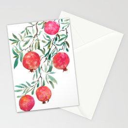 red pomegranate watercolor Stationery Cards