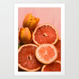Citrus and Tulips Art Print