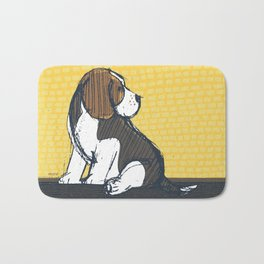 Beagle Puppy Portait by Friztin Bath Mat