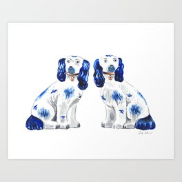 Pair of Staffordshire Dogs in Blue Art Print