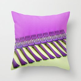 still life with forks on a colorful background Throw Pillow