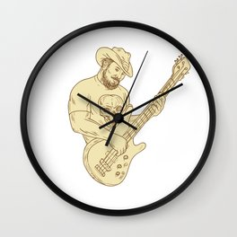 Cowboy Bass Guitar Isolated Drawing Wall Clock