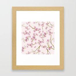 Spring Flowers - Pink Cherry Blossom Pattern Framed Art Print