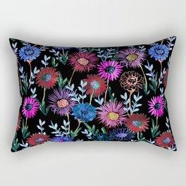 Gillian Floral Black Rectangular Pillow
