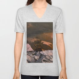 Ship trapped in Pack Ice by William Bradford - Hudson River School Vintage Painting Unisex V-Neck