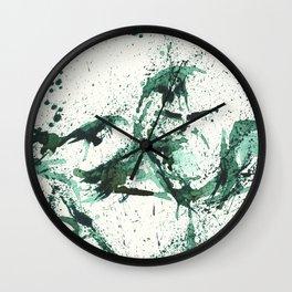 GREEN - SPLATTER ARTWORK Wall Clock