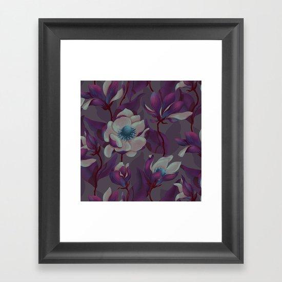 magnolia bloom - nighttime version Framed Art Print