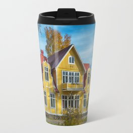 Picture of red wooden scandinavian style house at the lake during autumn Travel Mug
