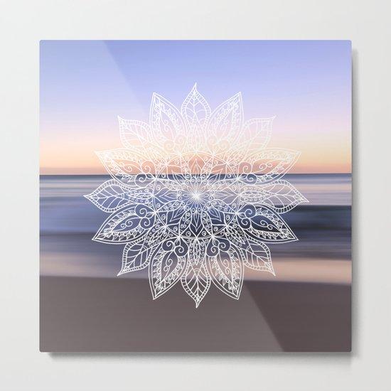 Leaf mandala - beachside Metal Print