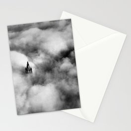 Woolworth Tower, 233 Broadway in Manhattan, New York City in the fog black and white photograph  Stationery Cards