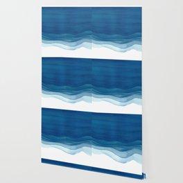 Watercolor blue waves Wallpaper