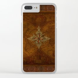 Antique Steampunk Compass Rose & Map Clear iPhone Case