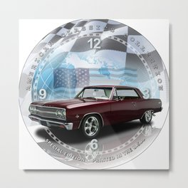1965 Chevrolet Chevelle SS Decorative Wall Clock (012ac) Metal Print