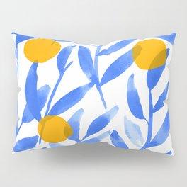 Tropical Lemons / Blue and Yellow Refreshing Lemon Print / Abstract Lemon Vibes / Summer Lemons Pillow Sham