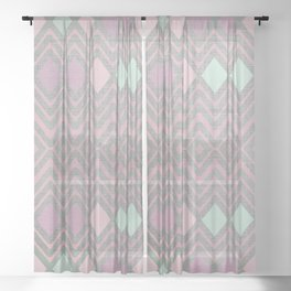 Woven Geometry - Fabric ZigZag Pattern Pastel Pink Mint Charcoal Sheer Curtain