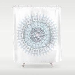 Grayish Blue Geometric Mandala Shower Curtain