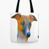greyhound Tote Bags featuring Greyhound by Marlene Watson