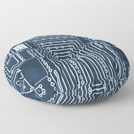 Blue Geek Motherboard Circuit Pattern Floor Pillow