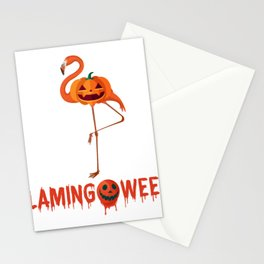 Funny Halloween Flamingo Pumpkin Flamingoween Stationery Cards