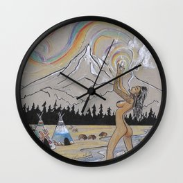 Indigenous PNW Goddess Wall Clock