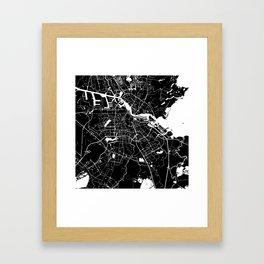 Amsterdam Black on White Street Map Framed Art Print