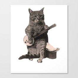 Cat Playing Banjo Guitar Canvas Print