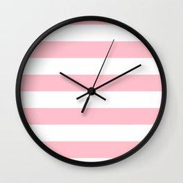 Horizontal Stripes - White and Pink Wall Clock