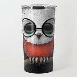 Baby Owl with Glasses and Polish Flag Travel Mug