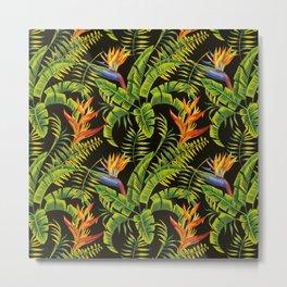 tropical exotic flowers dark seamless pattern Metal Print