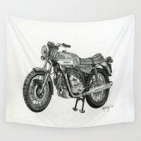 motorbike Wall Tapestries featuring Stippled Motorbike  by Rachael Kotvojs