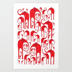 Elephant Herd 2 Art Print