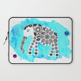 Elephant in blue watercolor background Laptop Sleeve