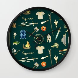 Lord of the pattern green Wall Clock