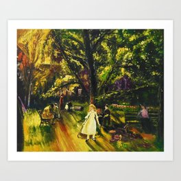 Sunday in Gramercy Park, NYC landscape painting by George Wesley Bellows Art Print