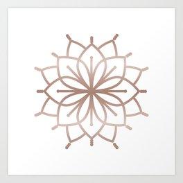 Rose Gold Mandala - Metalic Rose Pink Art Print