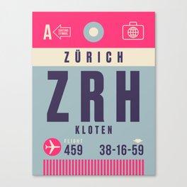 Retro Airline Luggage Tag - ZRH Zurich Switzerland Canvas Print
